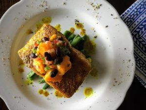 Curry coated pan fried fish
