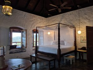 A white-walled bedroom at Sugar Reef Bequia