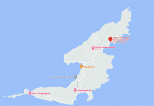 Map to Sugar Reef Bequia